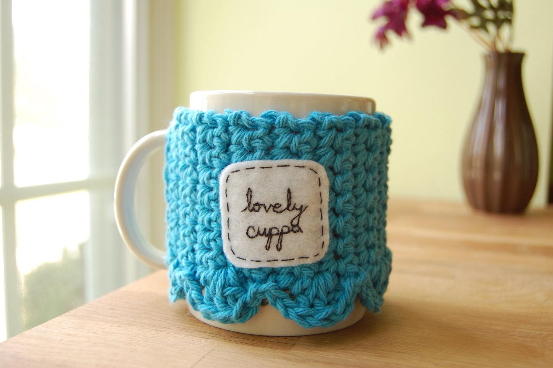Lovely Cuppa Tea Mug Cozy Crocheted Blue Coffee Cup Cosy ...